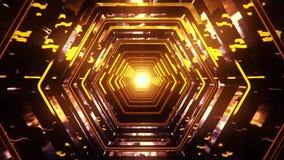 lazo ìBackground del túnel VJ del hexágono de la ciencia ficción del amarillo del oro 3D stock de ilustración