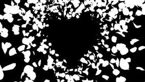 Lazo aislado alfa blanca amarilla romántica del corazón de Rose Flower Petals que vuela libre illustration