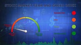 Lazo azul del dinero 4K del indicador del miedo del sentimiento del mercado de acción stock de ilustración