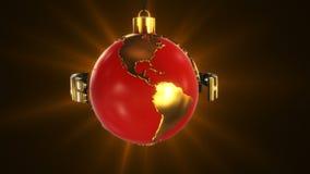 Lazo azul rojo de la tierra de la Navidad metrajes