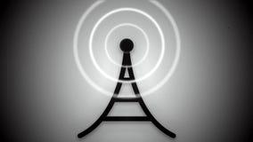 Lazo blanco y negro de la animación del icono de la torre de comunicación
