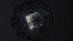 Lazo circular abstracto del fondo del acero y de la luz para el gráfico del movimiento Rotación de la animación del acero radial  ilustración del vector