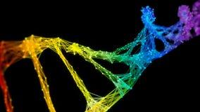 Lazo colorido aislado del arco iris de Digitaces del plexo de la DNA del filamento iridiscente de la molécula metrajes