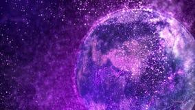 Lazo de giro del globo 4K de la partícula galáctica stock de ilustración