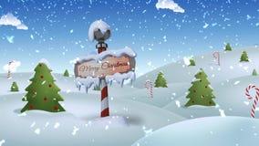 Lazo de la Feliz Navidad 4K de Polo Norte ilustración del vector