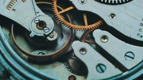Lazo de la macro del mecanismo del reloj almacen de metraje de vídeo