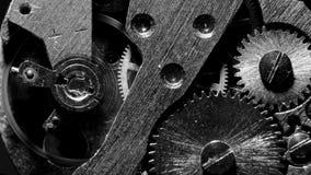 Lazo de la macro del mecanismo del reloj Viejo funcionamiento del mecanismo del reloj del vintage metrajes