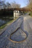 Lazo de la mula del barco de canal Imagenes de archivo