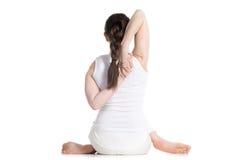 Lazo de las manos en actitud de la yoga de la cara de la vaca Imagen de archivo