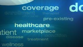 Lazo de las palabras de la atención sanitaria y del seguro stock de ilustración