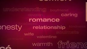 Lazo de las palabras del amor y de la relación ilustración del vector