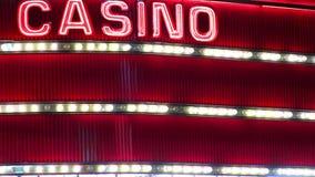Lazo de neón de la muestra del casino almacen de video