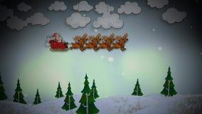 Lazo de Santa Fly Over Pine Forest 4K de los saludos de las estaciones almacen de metraje de vídeo