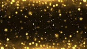 Lazo del fondo del extracto del polvo del premio del bokeh del brillo del oro de las partículas metrajes