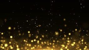 Lazo del fondo del extracto del polvo del premio del bokeh del brillo del oro de las partículas almacen de video