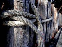 Lazo del nudo de la cuerda en el banco fotos de archivo libres de regalías