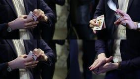 Lazo del primer 4x de los trucos de cartas almacen de video