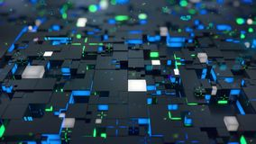 Lazo inconsútil: concepto de la tecnología de 3d Digitaces Los cubos negros con segmentos verdes y azules simbolizan el bloque de stock de ilustración