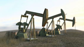 Lazo inconsútil de los pozos de petróleo - las bombas de aceite en meadow-3D rinden stock de ilustración
