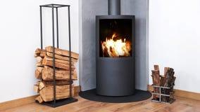 Lazo inconsútil - fuego en la estufa de madera moderna cerca de los estantes de madera, vídeo de HD almacen de metraje de vídeo