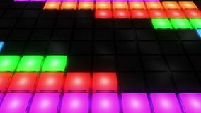 Lazo ligero del vj del fondo de la rejilla del disco que brilla intensamente del club nocturno de la pared colorida de la sala de ilustración del vector