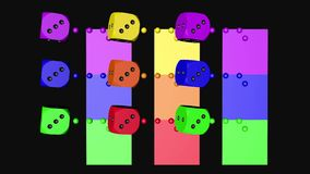 Lazo que se mueve, 3D representación 4K de los dados del color del arco iris almacen de metraje de vídeo