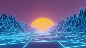Lazo retro de la animación de la puesta del sol de Vaporwave