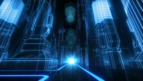Lazo Retro-futurista de la ciudad VJ ilustración del vector