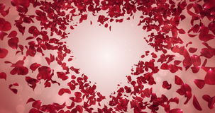 Lazo rojo 4k del Placeholder del fondo de la forma del corazón del amor de Rose Flower Petals In