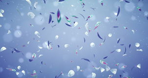Lazo romántico 4k del fondo del vuelo de Violet Blue Green Flower Petals que cae stock de ilustración