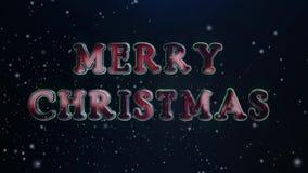 Lazo verde rojo del texto 4K del metal 3d de la Feliz Navidad almacen de metraje de vídeo