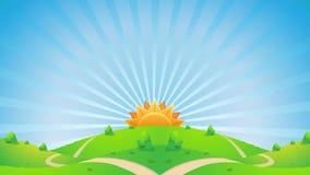 Lazo video HD del fondo de la animación de los gráficos del movimiento del paisaje de la sol stock de ilustración
