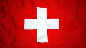 Lazo video inconsútil de la bandera suiza metrajes
