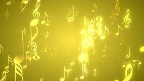 Lazo video temático del fondo de la música de //1080p del oro de las notas musicales stock de ilustración
