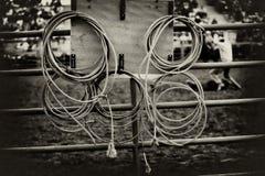 Lazos del rodeo en los ganchos de leva Fotografía de archivo