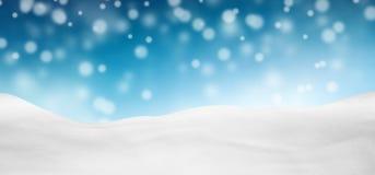 Lazurowa Błękitna Abstrakcjonistyczna panorama Snowscape z Spada śniegiem ilustracja wektor