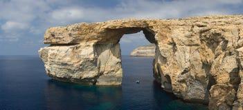 Lazurowa Nadokienna panorama, Malta zdjęcie stock