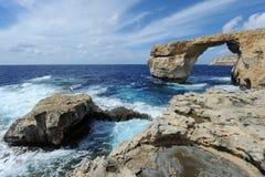 Lazurowy okno w Gozo, Malta Zdjęcie Stock