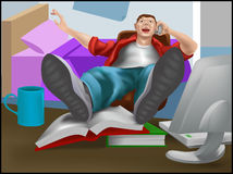 Lazy. A young man or teenager leaning back in his chair on the phone with books and computer in front of them vector illustration