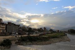 The lazy afternoon and beautiful sunset in Kathmandu city royalty free stock photography