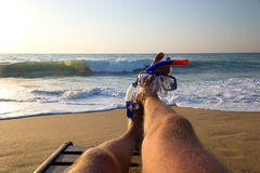 Lazy beach diver Stock Image
