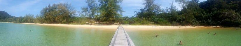 Lazy beach. Panorama of lazy beach on koh rong sanloem Stock Photo