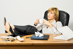 Lazy Beautiful Business Lady Royalty Free Stock Photography