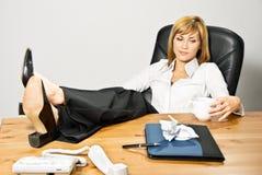 Lazy Beautiful Business Lady Stock Photography