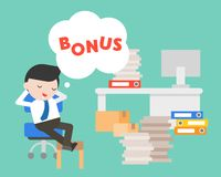 Lazy Businessman day dreaming about bonus, business concept. Lazy Businessman day dreaming about bonus, flat design business concept royalty free illustration