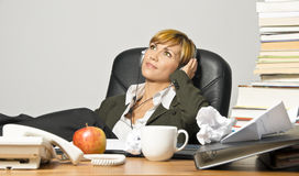Lazy Businesswoman or Student Royalty Free Stock Image