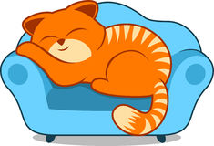 Lazy cat. Orange striped Lazy cat smiling and sleeping on sofa blue armchair  illustration Royalty Free Stock Images