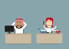 Lazy chief and busy secretary in office Stock Images