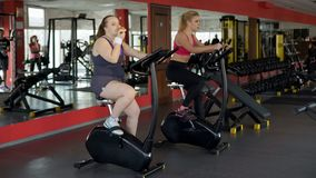 Lazy corpulent woman eating bun and riding stationary bike in gym, fitness stock photography