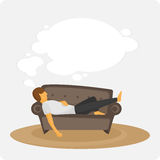 Lazy on the couch. Man sleep on sofa. The person dreams lying on a sofa. Idler. Vector illyustation Royalty Free Stock Photos